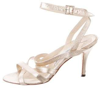 Manolo Blahnik Metallic Ankle-Strap Sandals