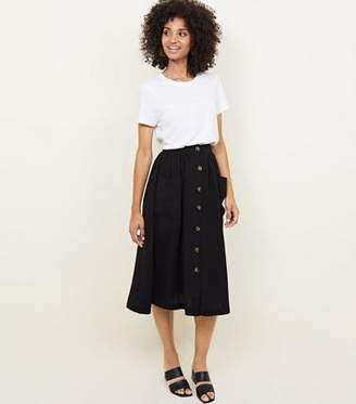 New Look Black Button Through Pocket Midi Skirt