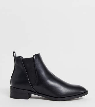 Simply Be Wide Fit Simply Be Florence wide fit flat chelsea boots in black