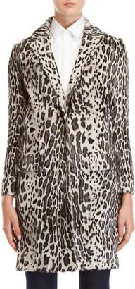 Yves Salomon Leopard Print Real Fur Long Coat