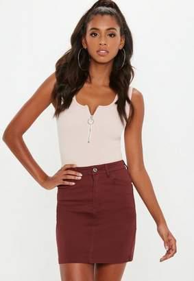 Missguided Brown Superstretch Denim Mini Skirt