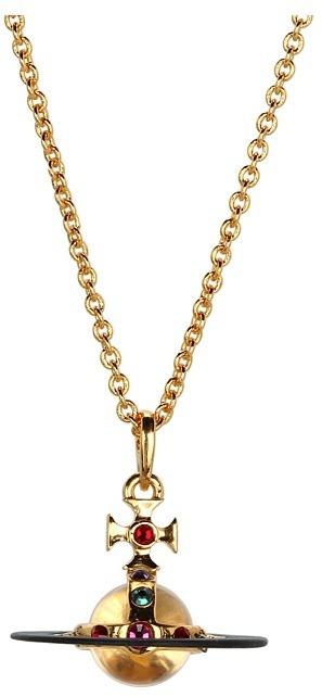 Vivienne Westwood Tiny Vintage Orb Pendant (Black/Gold) - Jewelry