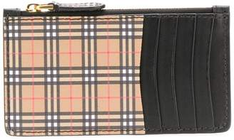Burberry vintage check and leather zip cardholder