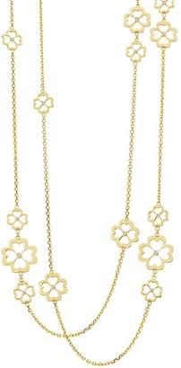 "Gumuchian 18K Yellow Gold G Boutique Kelly Diamond Clover Station Necklace, 34"""