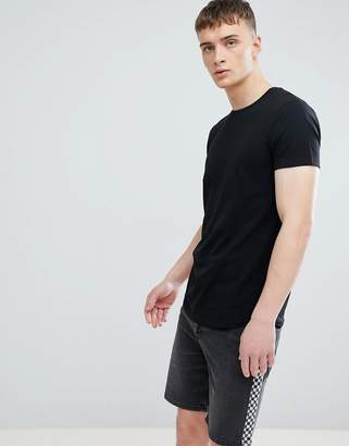 Esprit Longline Muscle Fit T-Shirt In Black With Curved Hem