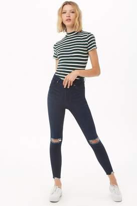 Forever 21 High-Rise Knee-Slit Push-Up Jeans