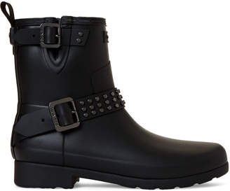 Hunter Black Refined Stud Biker Ankle Rain Boots