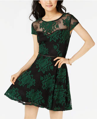 City Studios Juniors' Two-Tone Lace Dress