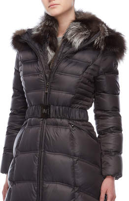 Dawn Levy Real Fur Collar Belted Down Coat