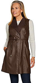 Lisa Rinna Collection Faux Leather Vest withTie Waist