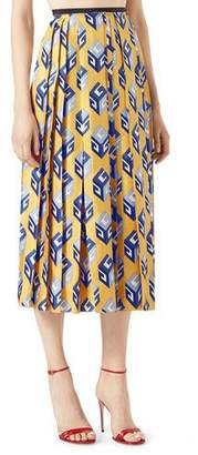 Gucci GG Wallpaper Silk Twill Pleated Skirt, Yellow $1,890 thestylecure.com