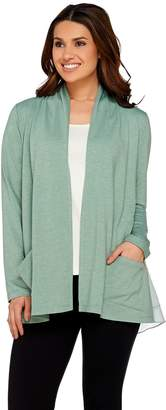 Logo By Lori Goldstein LOGO Lounge by Lori Goldstein Cardigan with Layered Hem Detail