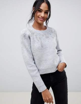 Asos Design DESIGN ice skater embellished knit jumper