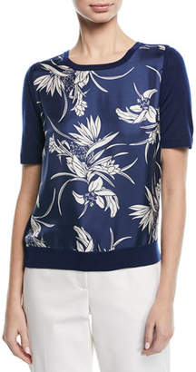 Escada Short-Sleeve Floral-Print Silk Front & Knit Back Pullover Top