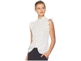 Anne Klein Ruffle Sleeve Blouse with Peter Pan Collar Women's Blouse