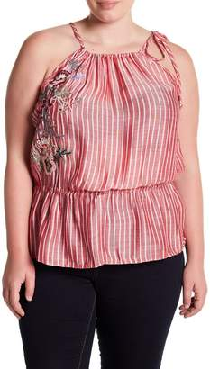 Susina Embroidered Striped Tank Top (Plus Size)