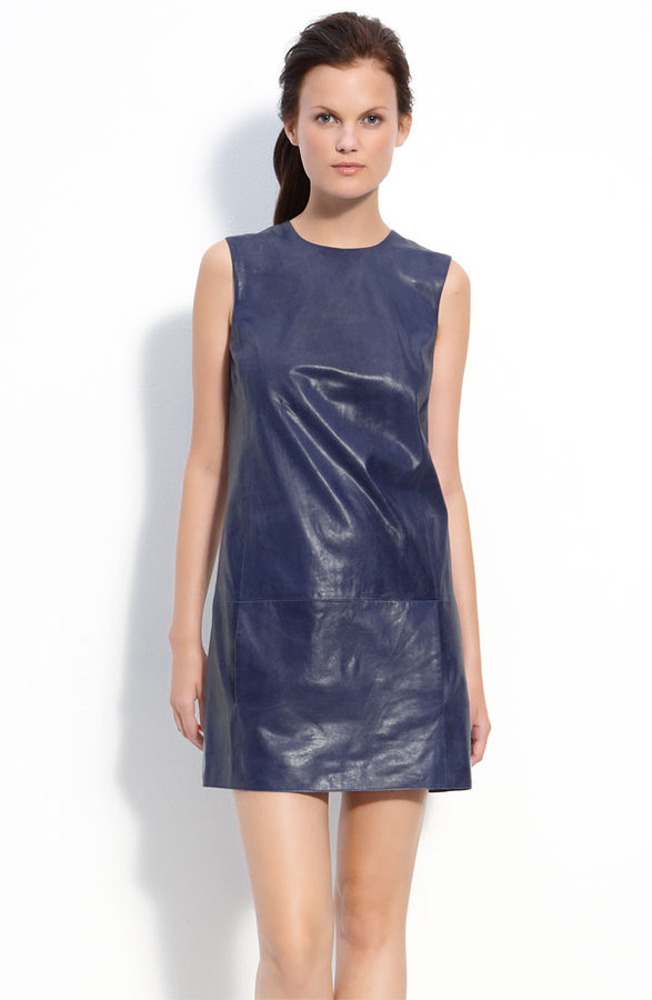 Vince Lambskin Leather Shift Dress