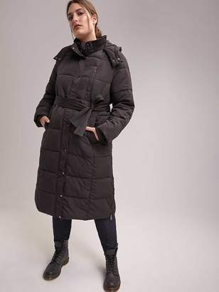 Long Faux Down-Filled Puffer Jacket with Belt - In Every Story