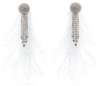 Alessandra Rich Marabou Trimmed Crystal Clip Earrings - Womens - White