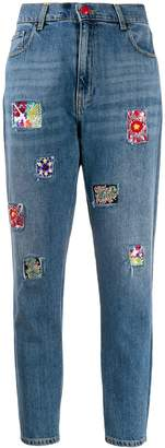 History Repeats beaded-patch high-rise slim jeans