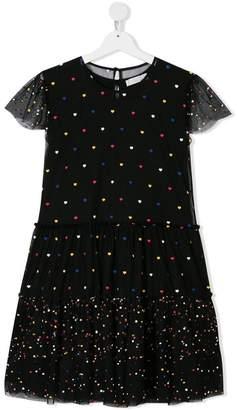 Stella McCartney TEEN heart-print tulle dress