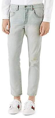 Gucci Men's Bleached Light Skinny Jeans