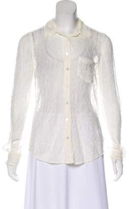 Equipment Lace Button-Up Blouse