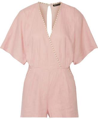 Vix - Marion Wrap-effect Linen-blend Playsuit - Pastel pink $190 thestylecure.com