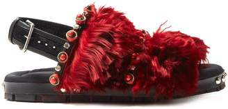 Marni Embellished double-strap fur sandals
