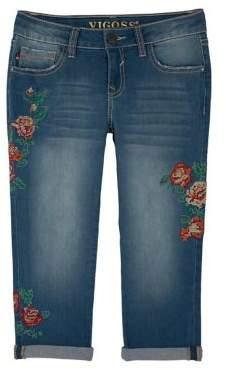 Vigoss Girl's Rose Emblem Embroidered Jean Capris