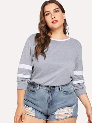 Shein Plus Striped Sleeve Sweatshirt