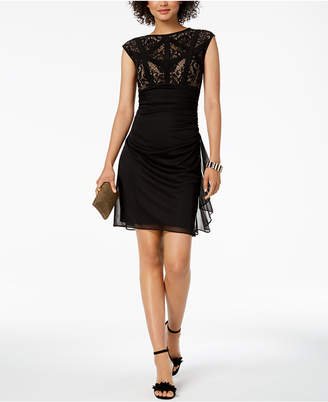 Betsy & Adam Caged Lace Ruffle Dress