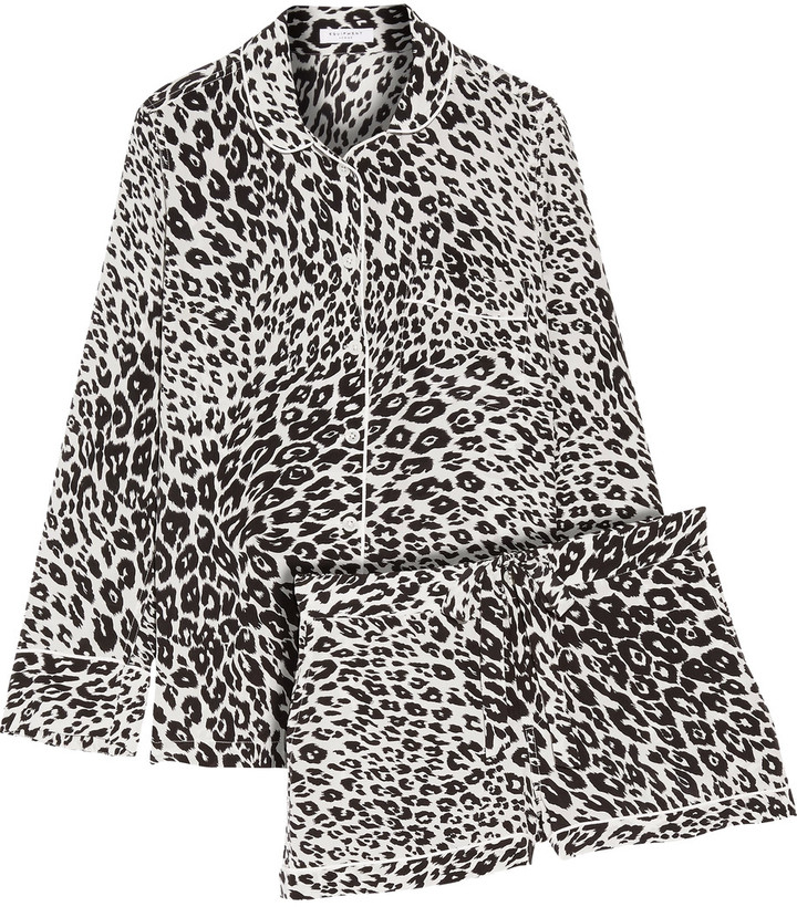 Equipment Equipment Lillian leopard-print silk pajama set