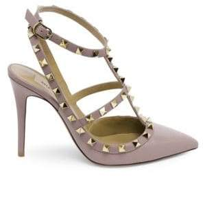 Valentino Rockstud Leather Ankle-Strap Heels
