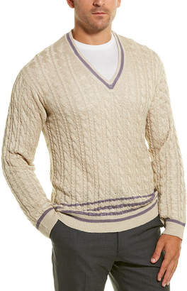 Dunhill Cable-Knit Silk V-Neck Sweater