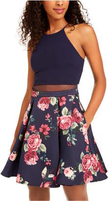 B. Darlin Juniors' Illusion Floral-Print Fit & Flare Dress