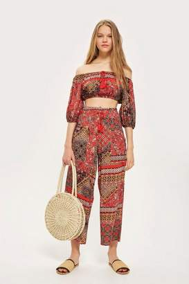 Band of Gypsies Tile Print Wide Leg Trousers by