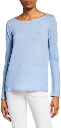 Neiman Marcus Majestic Paris for Boat-Neck Button-Back Long-Sleeve Stretch-Linen Tee