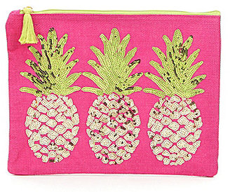Mud Pie Tasseled Sequined Pineapple Jute Beach Case $18 thestylecure.com
