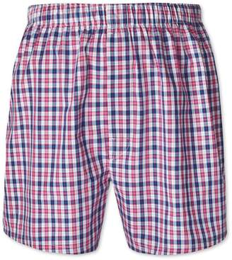 Charles Tyrwhitt Pink Check Woven Boxers Size Large