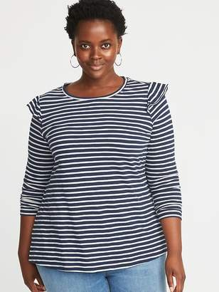 Old Navy Slub-Knit Ruffle-Shoulder Plus-Size Top