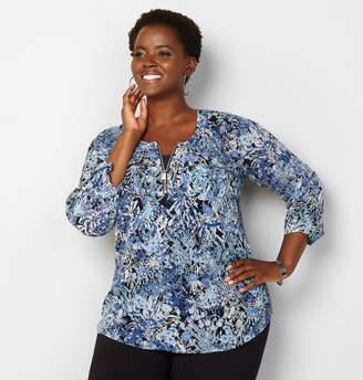 Avenue Abstract Floral Zipper Equipment Shirt