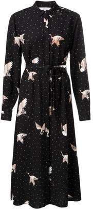 Ya-Ya Black Crane Print Dress - EU34 UK8