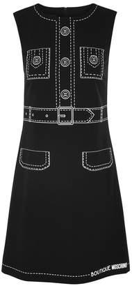 Moschino Black Printed Crepe De Chine Shift Dress