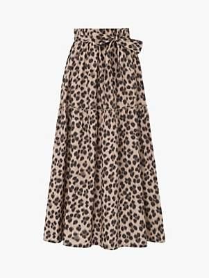 LK Bennett L.K.Bennett Rego Animal Print Tiered Skirt, Leopard