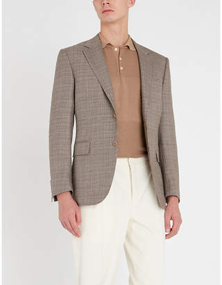 Canali Textured-panel cotton polo shirt