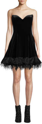 Jovani Strapless Velvet Bustier Dress w/ Feathered Hem