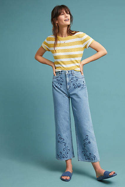Caron High-Rise Embroidered Wide-Leg Jeans