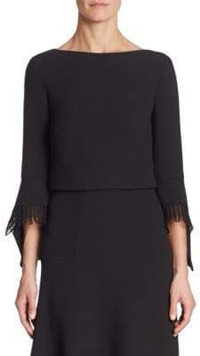 Roland Mouret Liverton Wool Bell Sleeves Top