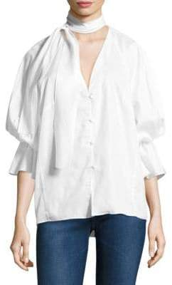 Petersyn Serena Tie Neck Cotton Top
